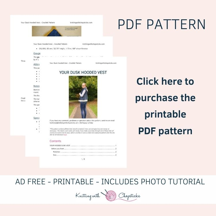 Click here to purchase the downloadable pdf pattern of the dusk hooded crochet vest pattern