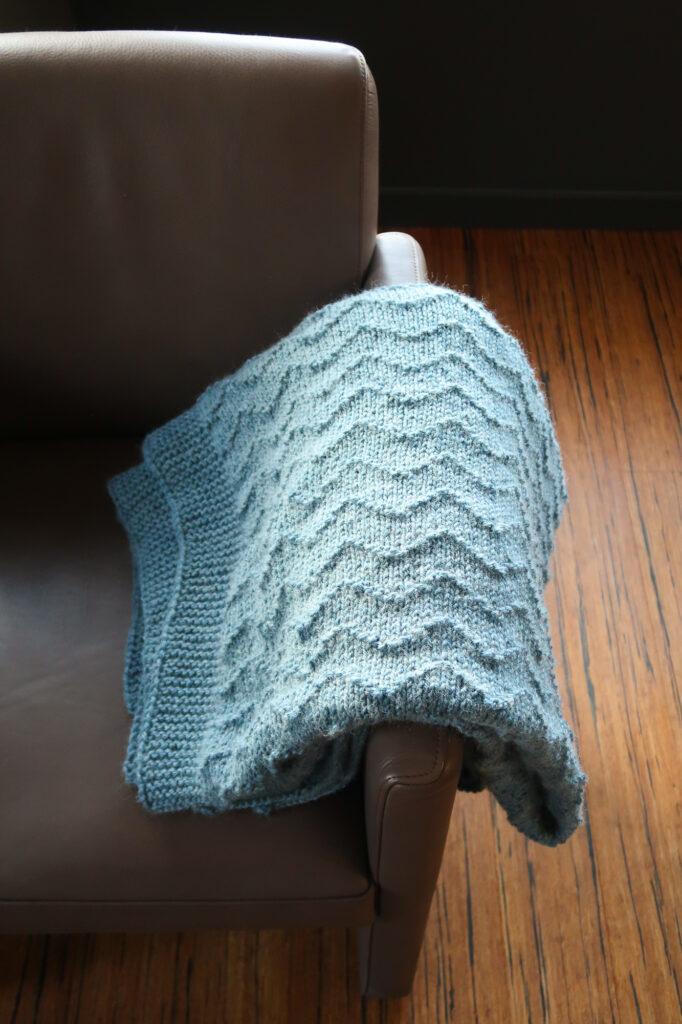 waves free knit blanket pattern