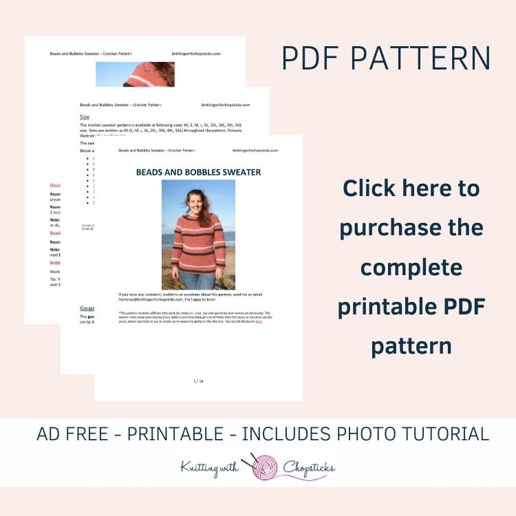 click here to purchase the downloadable pdf pattern of the beads and bobbles sweater crochet pattern