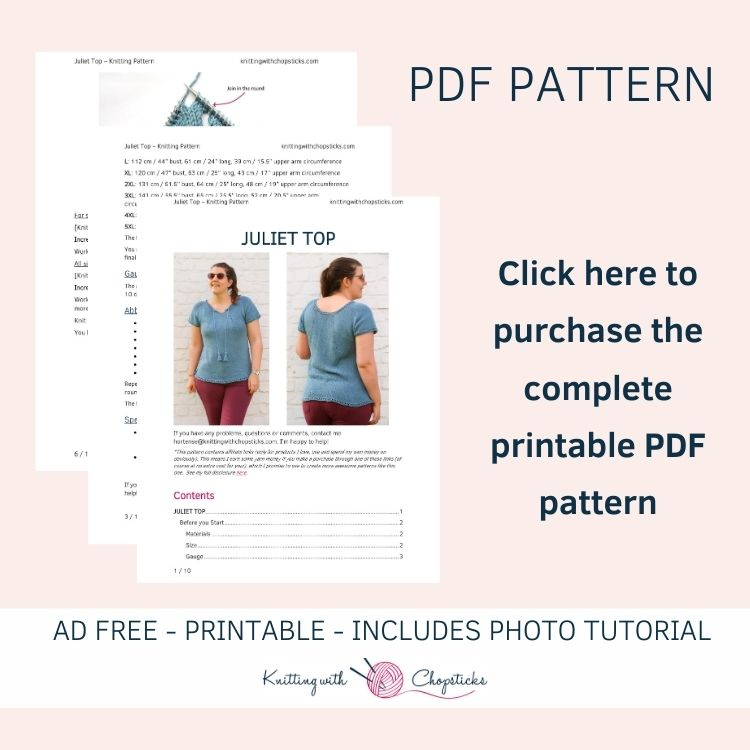 Click here to purchase the printable PDF of the Juliet summer top knitting pattern