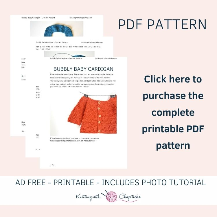 Click here to purchase the convenient printable PDF of the bubbly baby crochet cardigan pattern