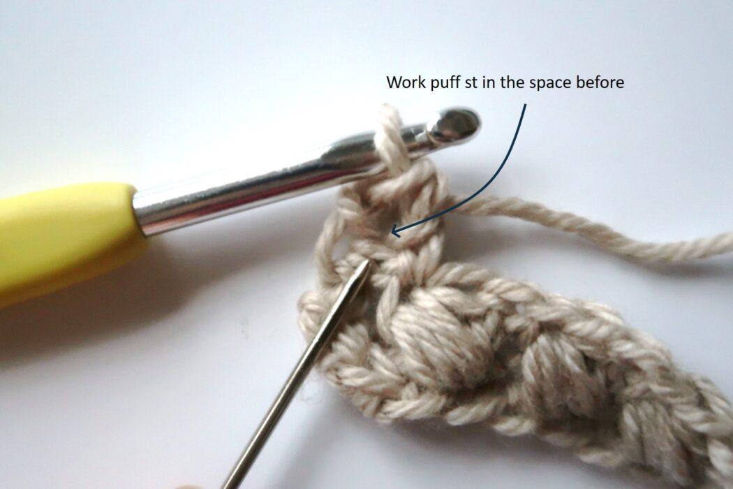 braided puff crochet stitch tutorial step 3
