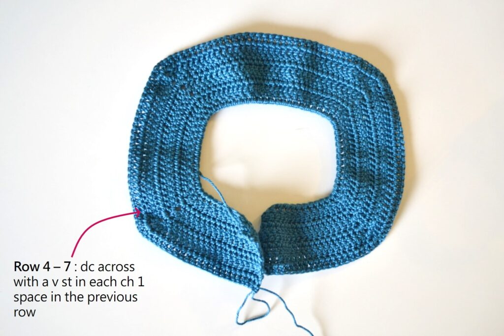 collar of the bubbly baby crochet cardigan pattern