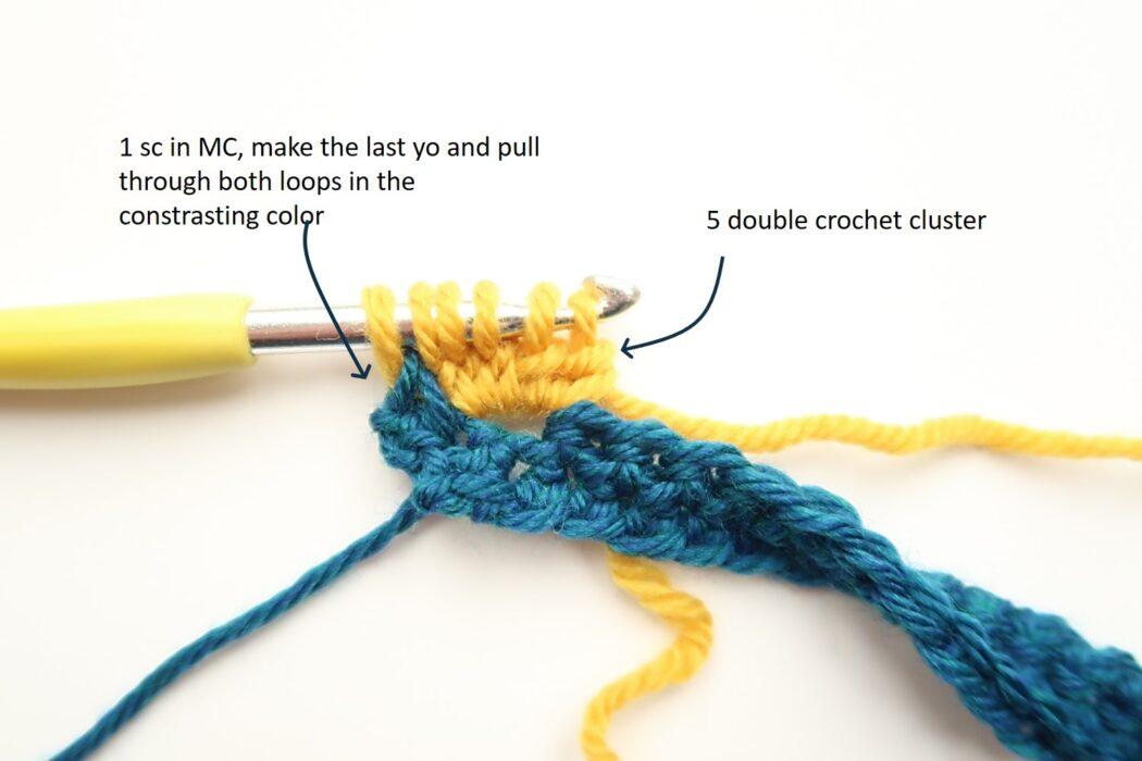 bobble chevron crochet stitch tutorial step 1