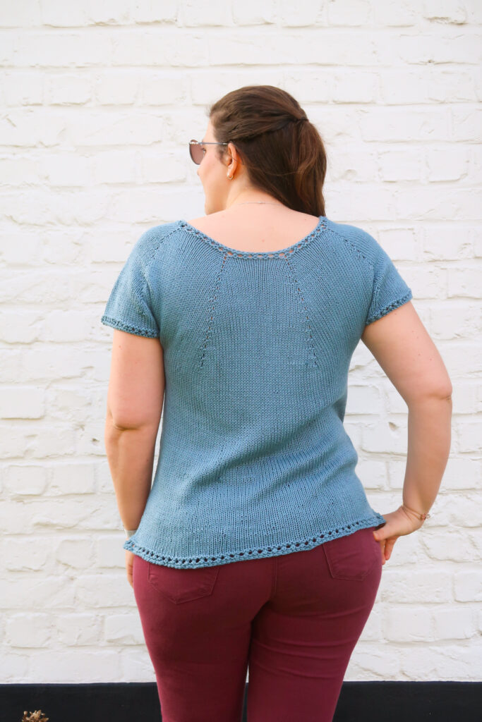 back of the Juliet summer top knitting pattern