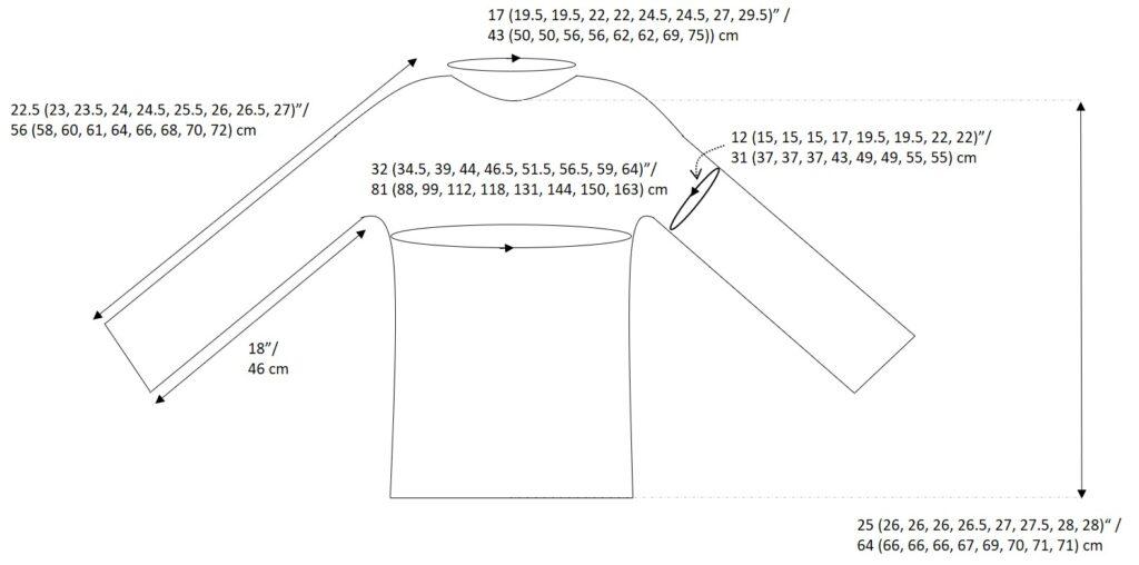 crochet sweater pattern size schematic