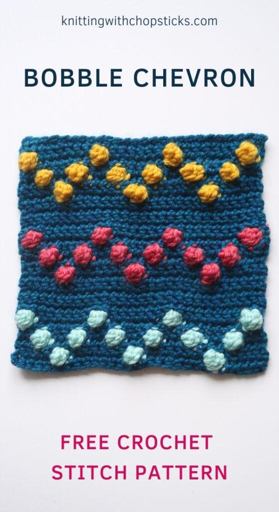 Bobble crochet chevron stitch pattern - free tutorial