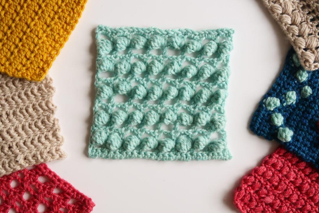 floating bobbles and lace crochet stitch pattern