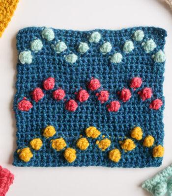 Bobble crochet chevron stitch pattern