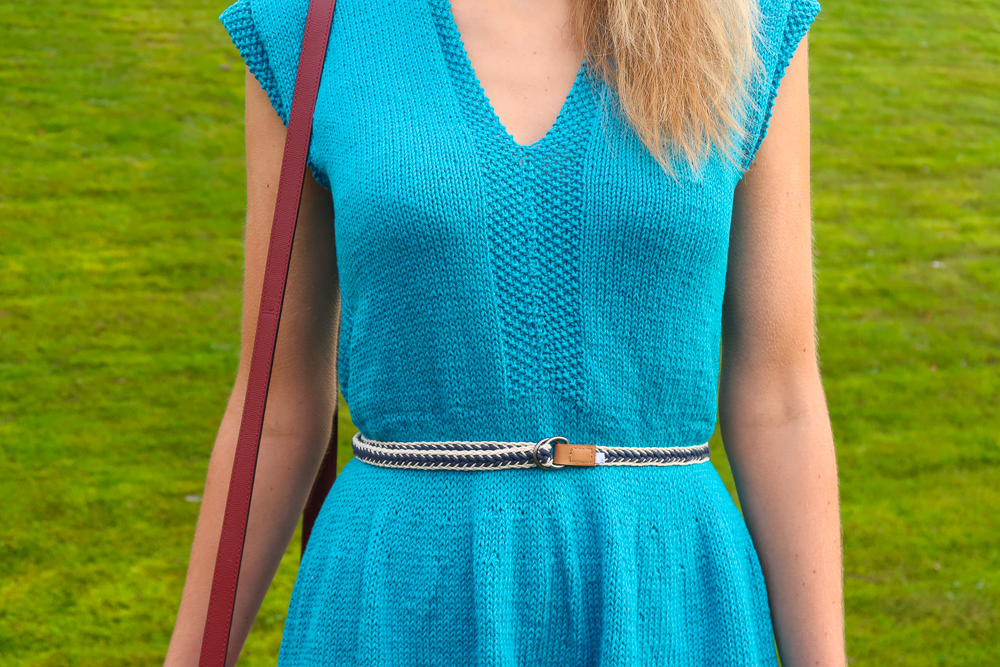 closeup of the top of the knit dress pattern free