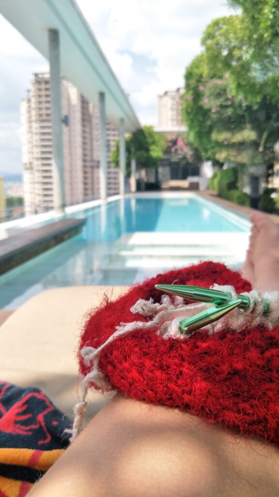 knitting at the pool