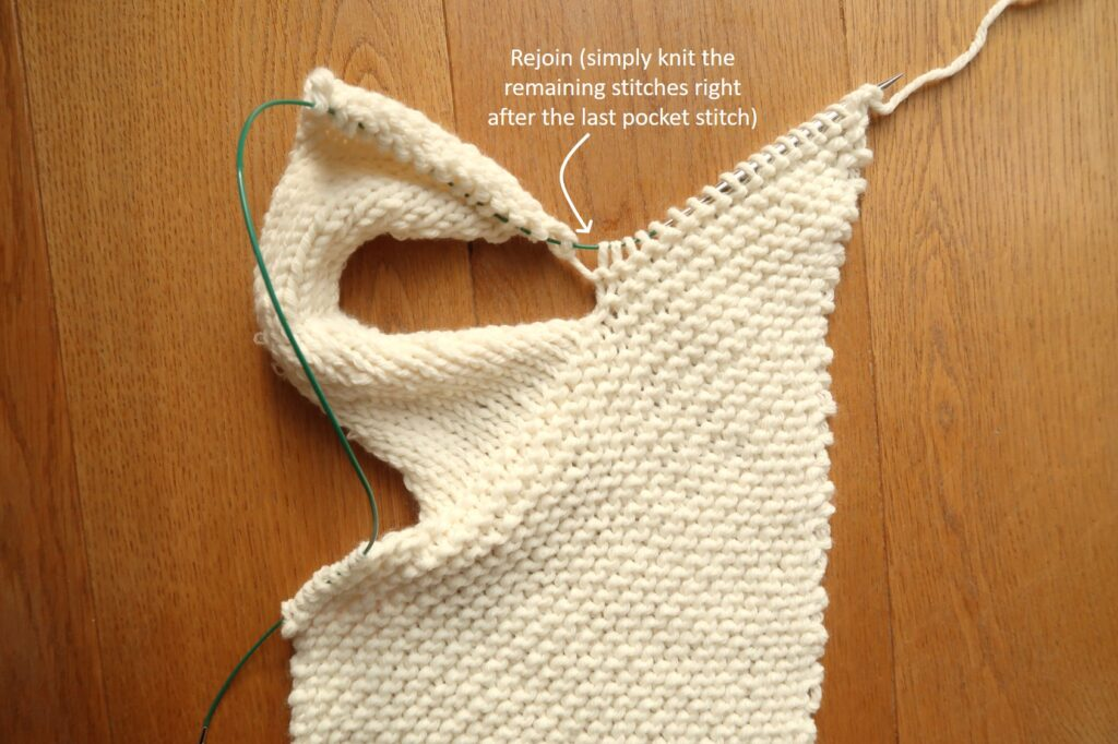 Rejoin the pocket stitches with the rest of the row