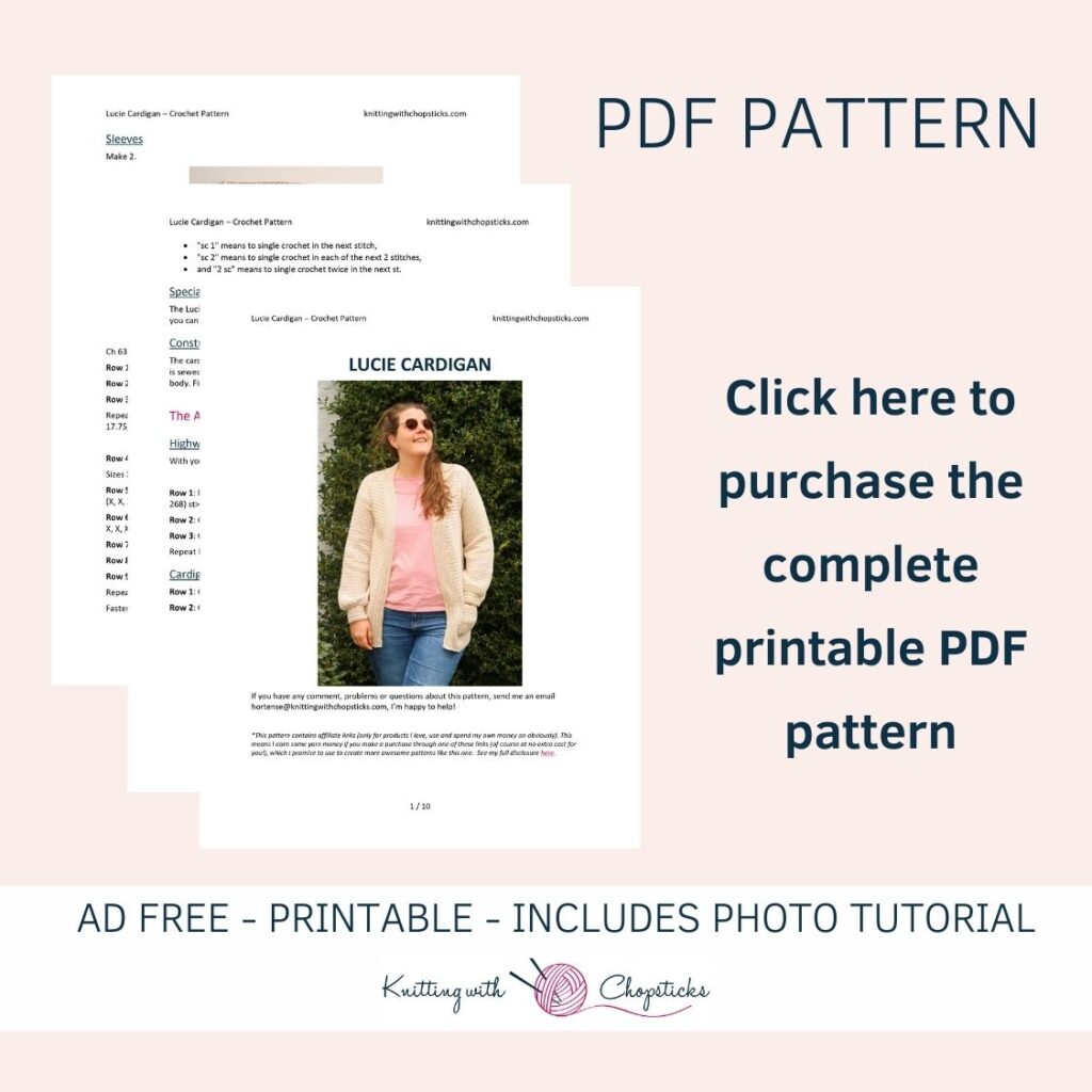 Click here to purchase the downloadable PDF pattern of the Lucie Crochet Cardigan