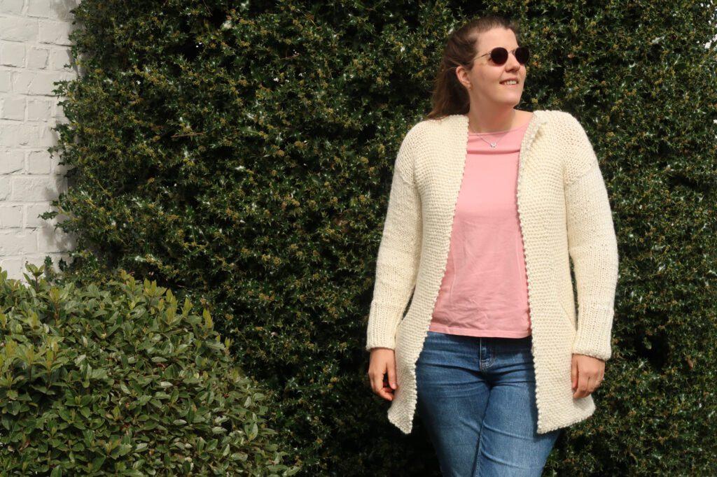 Cross between a knit cardigan and knit coat