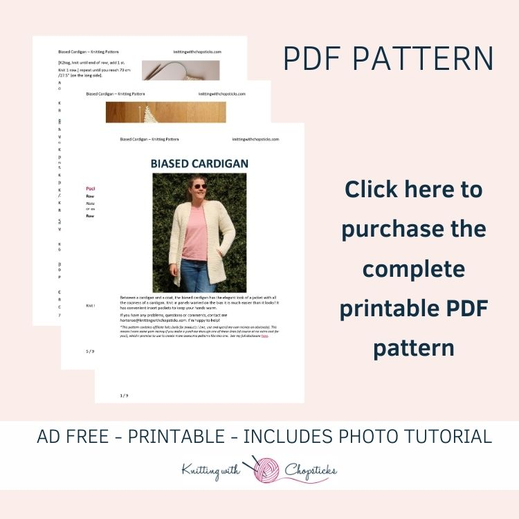 Click here to purchase the downloadable PDF of the Biased Cardigan Knitting Pattern