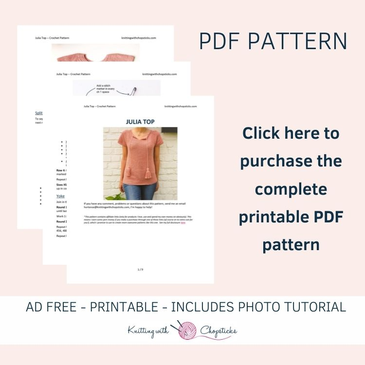 Click here to purchase the convenient printable PDF of the crochet top pattern
