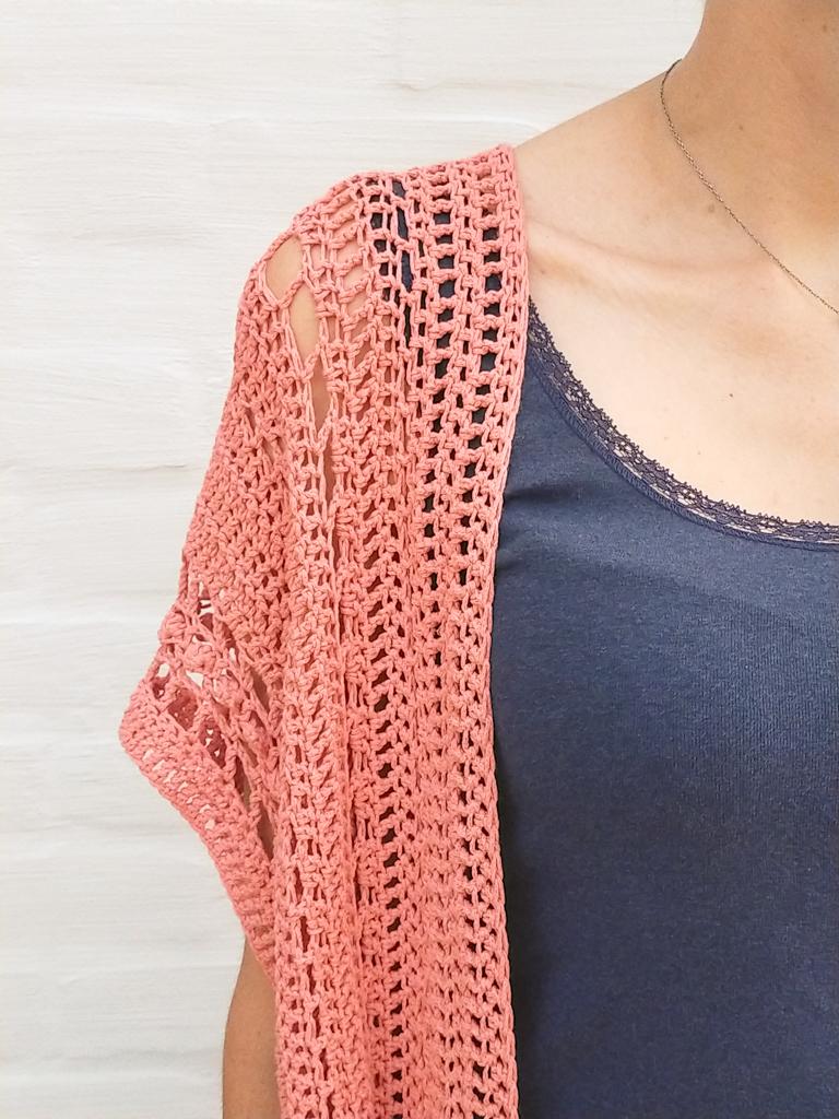 shoulder details of the boho crochet summer cardigan pattern