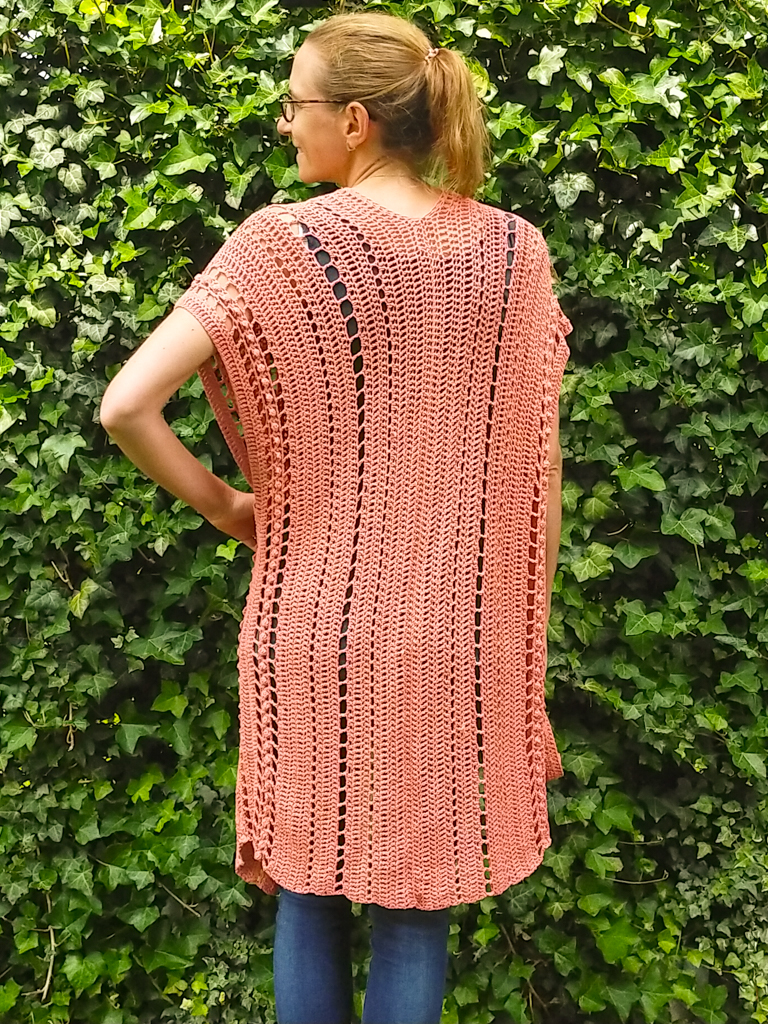 Back of the Ariel boho crochet summer cardigan pattern