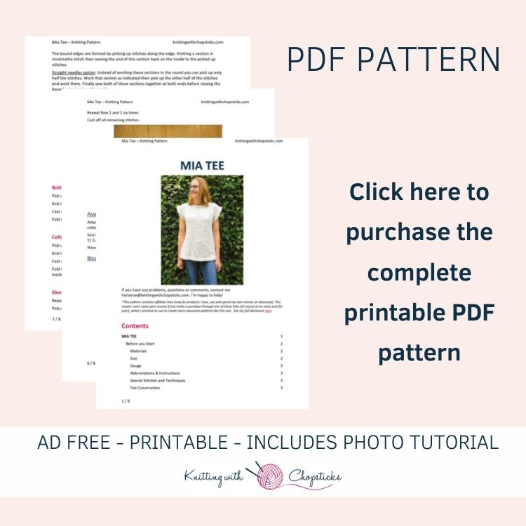 Click here to purchase the printable PDF pattern of the mia top knitting pattern