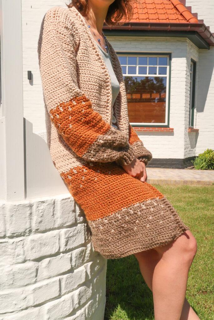 Ophelia Cardigan Crochet Pattern close up view