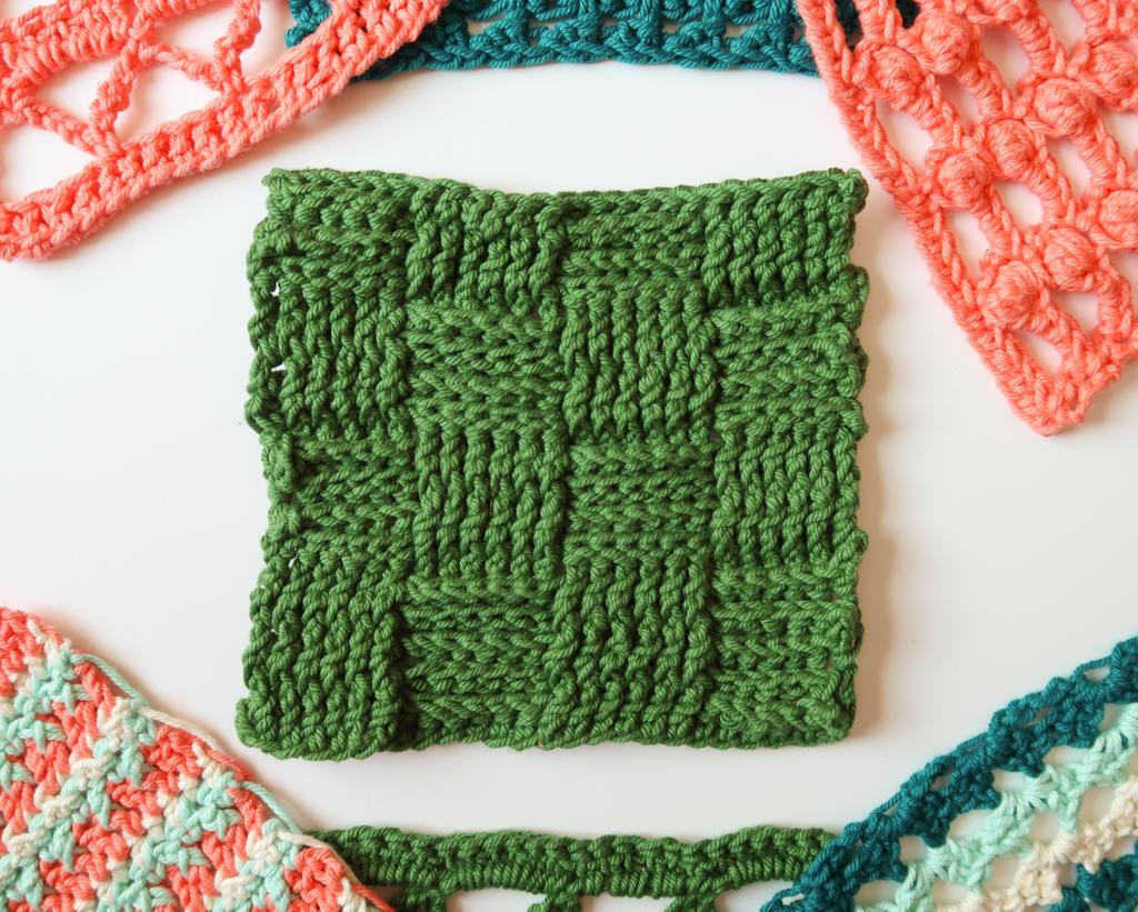 basketweave crochet stitch swatch