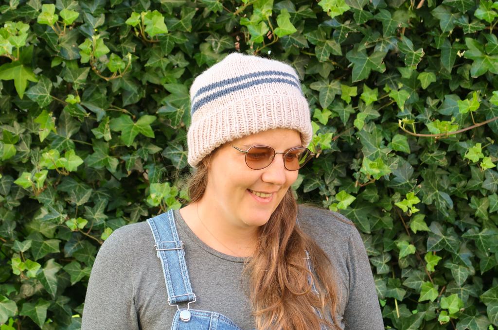 Alex free hat knitting pattern worn by a women