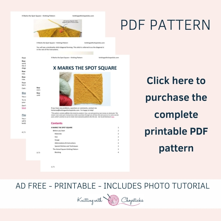 Click here to purchase the downloadable printable PDF of the knit square pattern