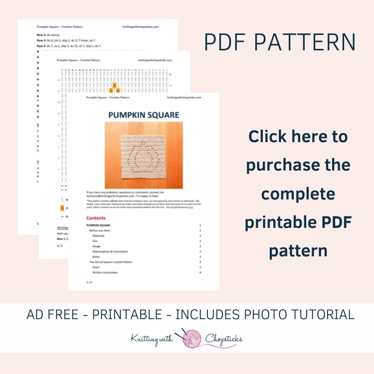 click here to purchase the printable PDF of the pumpkin crochet blanket square pattern