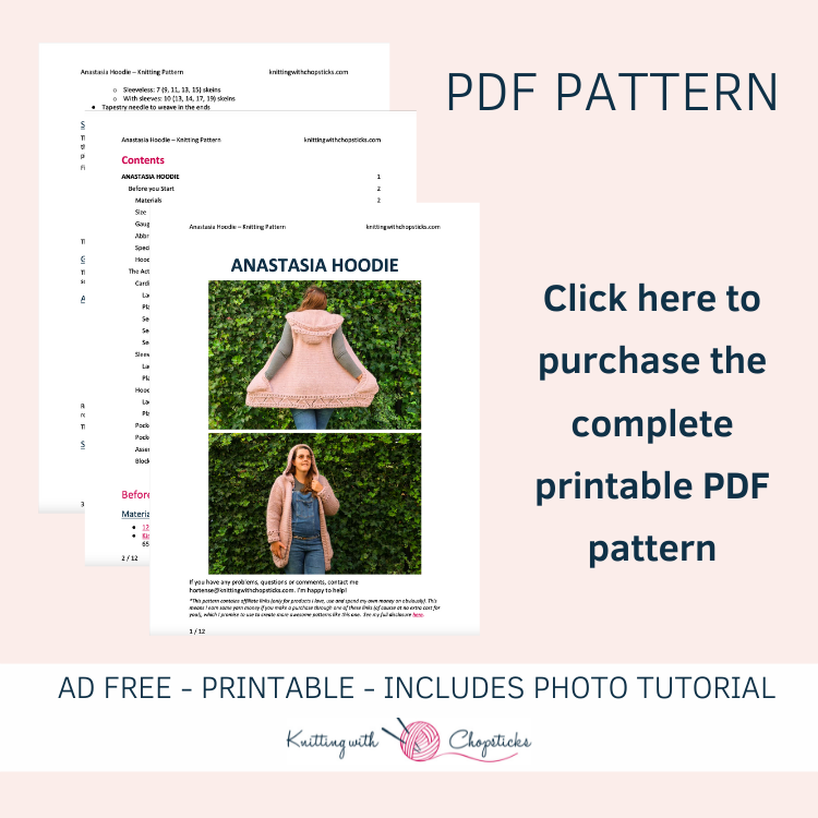 Click here to grab the downloadable PDF pattern of the Anastasia Hoodie knitting pattern