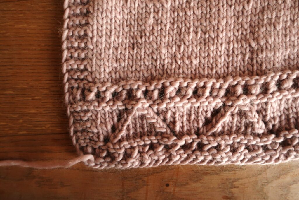 bottom section of the body of the cardigan knitting pattern