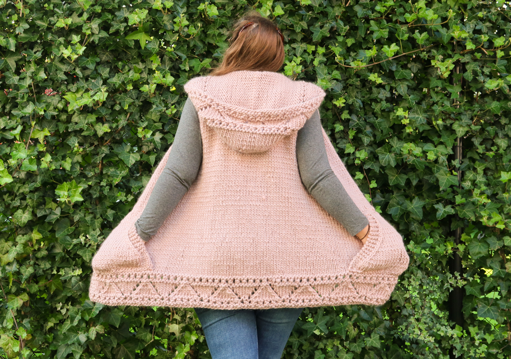 Back view of the vest version of the Anastasia Hoodie cardigan pattern