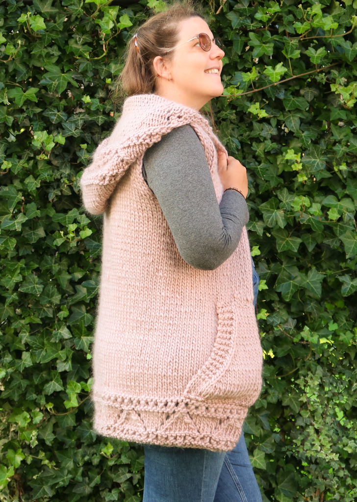 side view of the anastasia vest knitting pattern
