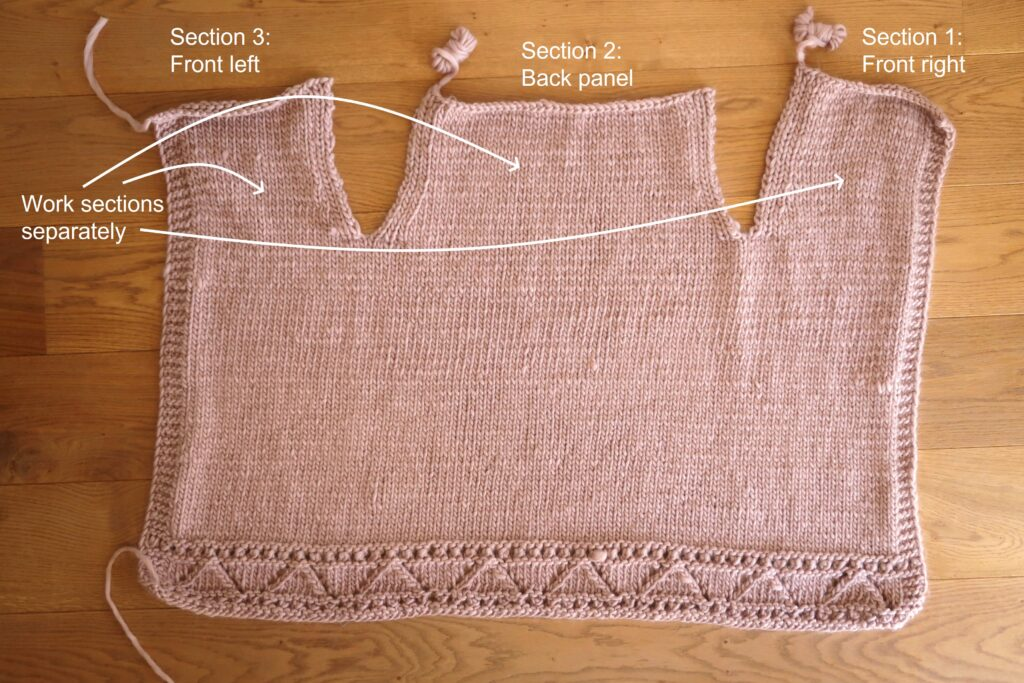 split the cardigan body in 3 sections and work them separately