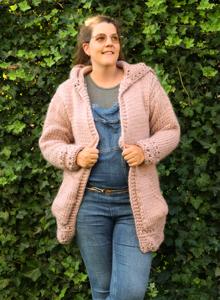 completed anastasia hoodie knitting pattern with sleeves