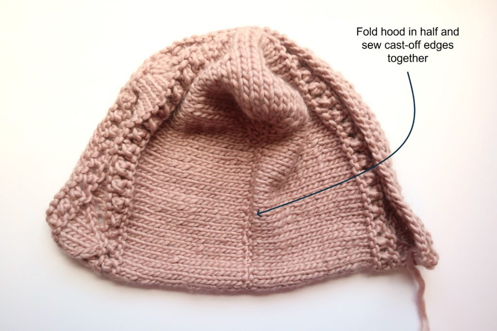 finished hood of the vest knitting pattern
