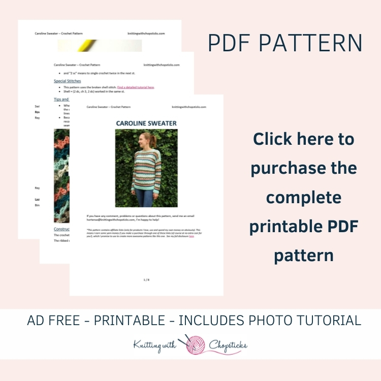 click here to purchase the downloadable PDF of the Caroline summer sweater crochet pattern